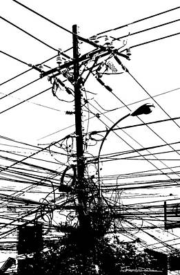 Telephone Wires Drawing - Wired by Jerrett Dornbusch