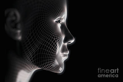Photograph - Wireframe Face Female by Science Picture Co