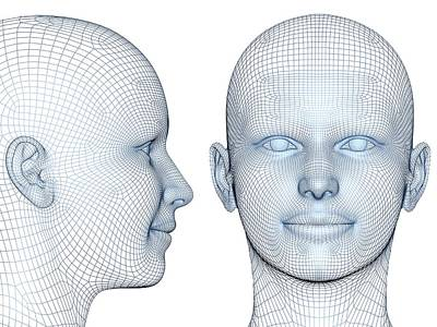 Wireframe Heads Art Print