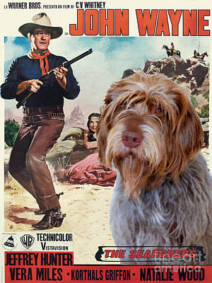 Painting - Wirehaired Pointing Griffon - Korthals Griffon Art Canvas Print - The Searchers Movie Poster by Sandra Sij