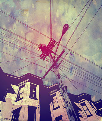 Sky Drawing - Wires by Giuseppe Cristiano