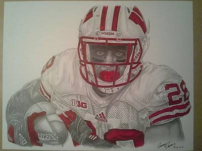 Denver Broncos Drawing - Wisconsin Badger's Montee Ball by Jimmy James