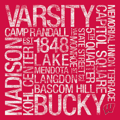 Word Art Photograph - Wisconsin College Colors Subway Art by Replay Photos