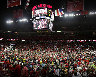 Wisconsin Fans Rush The Court At The Kohl Center Art Print by Replay Photos