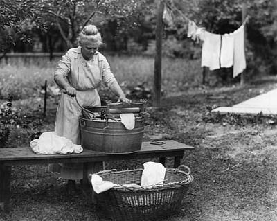 Washtubs Photograph - Wisconsin Laundry, C1920 by Granger
