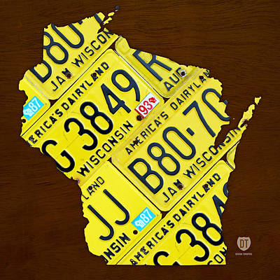 Travel Mixed Media - Wisconsin License Plate Map By Design Turnpike by Design Turnpike