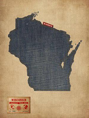 Wisconsin Map Denim Jeans Style Art Print by Michael Tompsett