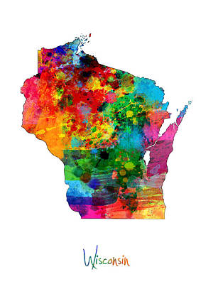 Geography Digital Art - Wisconsin Map by Michael Tompsett
