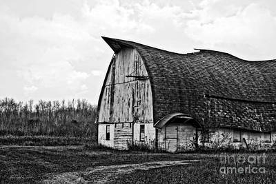 Photograph - Wisconsin Old Barn 1 Black And White by Ms Judi