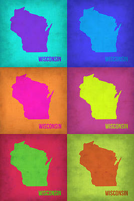Wisconsin Painting - Wisconsin Pop Art Map 2 by Naxart Studio