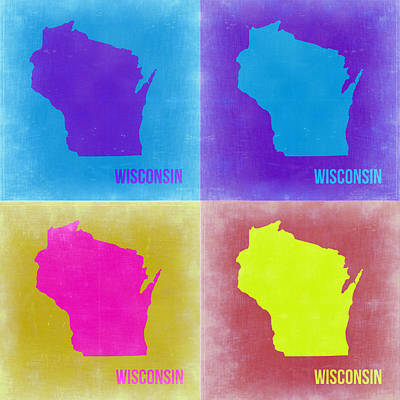 Modern Poster Painting - Wisconsin Pop Art Map 3 by Naxart Studio