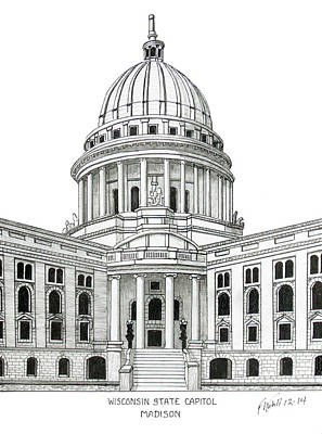 Drawing - Wisconsin State Capitol by Frederic Kohli