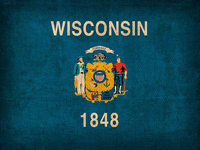 Wisconsin State Flag Art On Worn Canvas Art Print