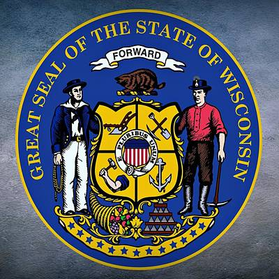 Mississippi River Digital Art - Wisconsin State Seal by Movie Poster Prints