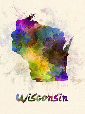 Cartography Painting - Wisconsin Us State In Watercolor by Pablo Romero