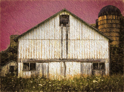 Photograph - Wisconsin White Barn Textured by Kathleen Scanlan