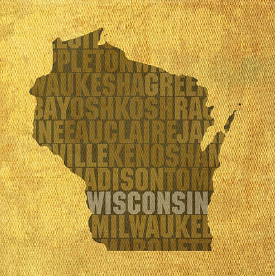 Wall Art - Mixed Media - Wisconsin Word Art State Map On Canvas by Design Turnpike