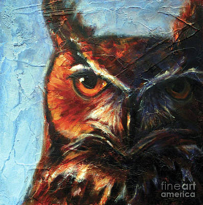 Abstract Wildlife Painting - Wisdom Great Horned Owl by Rosemary Conroy