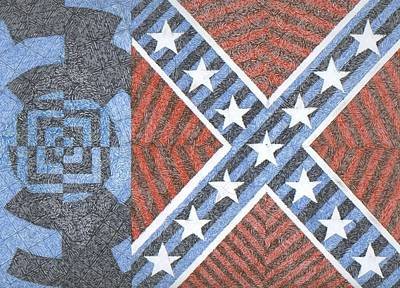 Confederate Flag Drawing - Wisdom Justice Moderation by William Burns
