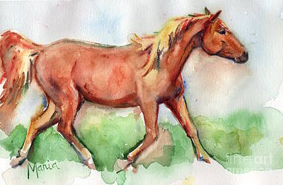 Horse Painted In Watercolor Wisdom Art Print by Maria's Watercolor