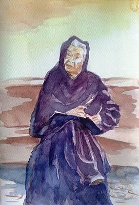 Hands On A Book Painting - Wisdom Of Years by Uma Krishnamoorthy