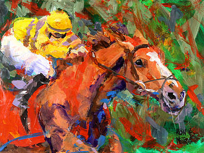 Racehorse Painting - Wise Dan by Ron and Metro