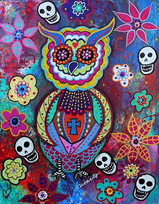 Painting - Wise Owl Dia De Los Muertos by Pristine Cartera Turkus