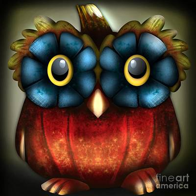 Digital Art - Wise Pumpkin Owl by J Kinion