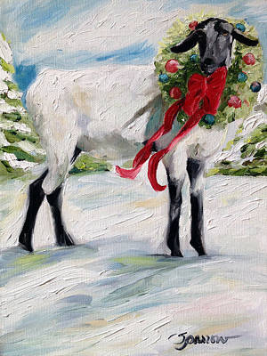 Tree Painting - Wish Ewe A Merry Christmas by Mary Sparrow