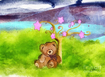 Teddy Bear Watercolor Painting - Wish Upon A Star by Mo T