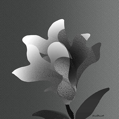Digital Digital Art - Wishful Flower B/w by Asok Mukhopadhyay