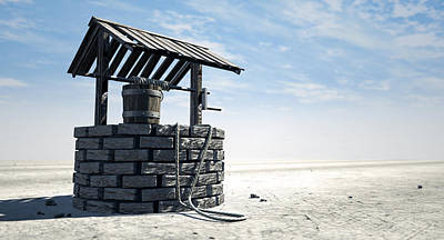 Wishing Well With Wooden Bucket On A Barren Landscape Print by Allan Swart