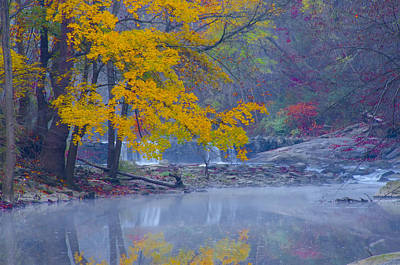 Wissahickon Morning In Autumn Print by Bill Cannon