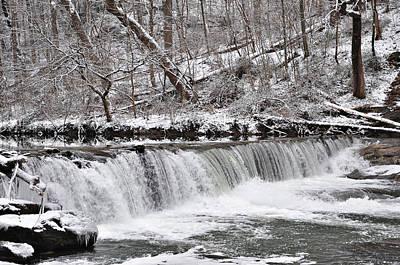 Wissahickon Waterfall In Winter Art Print by Bill Cannon