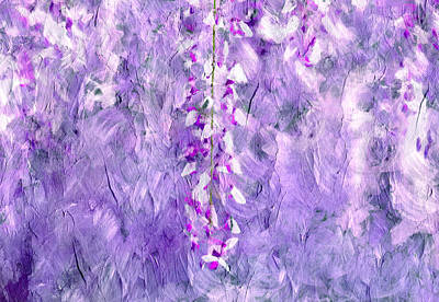 Abstract Flowers Royalty-Free and Rights-Managed Images - Wisteria Grunge Abstract by Georgiana Romanovna