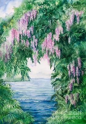 Watercolor Painting - Wisteria by Michelle Wiarda-Constantine