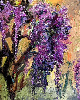 Impressionist Mixed Media - Wisteria Modern Decor by Ginette Callaway