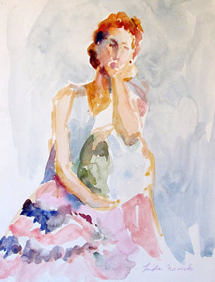 Painting - Wistful Redheaded Model by Linda Novick