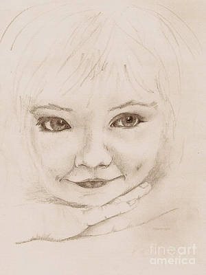 Drawing - Wistful Young Girl by Nan Wright