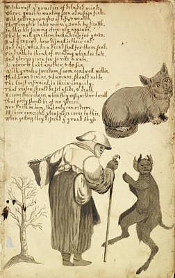 Of Cats Photograph - Witch And Her Cat by British Library
