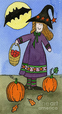 Witch And Pumpkins Art Print by Norma Appleton