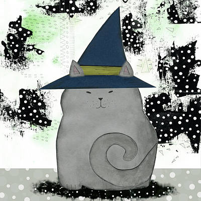 Witch Cat Painting - Witch Cat by Sarah Ogren