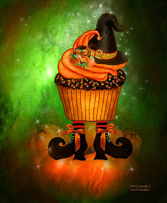 Pumpkin Mixed Media - Witch Cupcake 6 by Carol Cavalaris