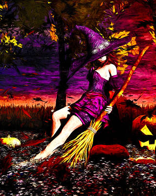 Painting - Witch In The Pumpkin Patch by Bob Orsillo