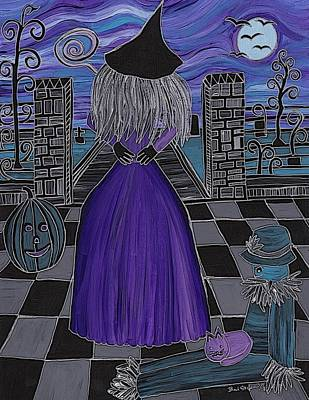 Grave Yard Painting - Witch World by Barbara St Jean
