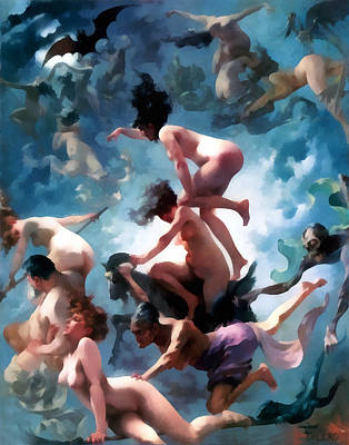 Nude Digital Art - Witches Going To Their Sabbath by Luis Ricardo Falero