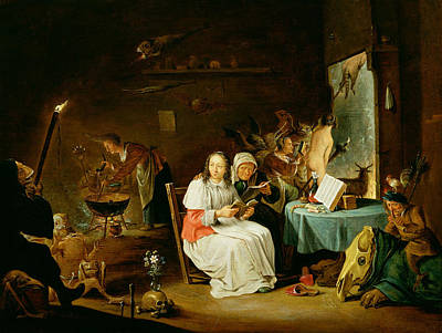 Anthropomorphic Painting - Witches Preparing For The Sabbat by David the Younger Teniers