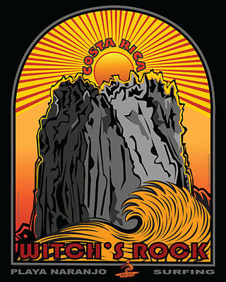 Witch's Rock Costa Rica Surfing Art Print by Larry Butterworth
