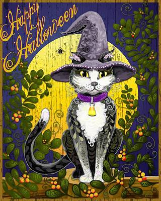 Candy Corn Digital Art - Witchy Moon Cat by Sharon Marcella Marston