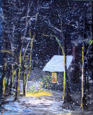 Thoreaus Cabin Painting - Wintery  Night At Thoreau's Cove by Jack Skinner